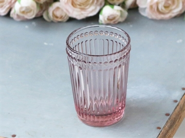 0 2021 - Rosa glas Tandkrus med perlekant fra Chic Antique