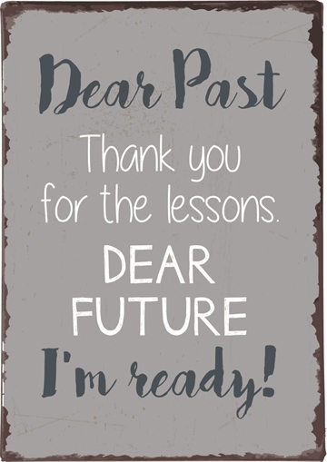 "Emaljeskilt - ""Dear Past Thank you for the lessons ....."""