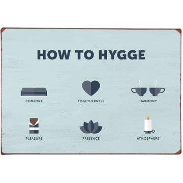 Metal skilt How to Hygge