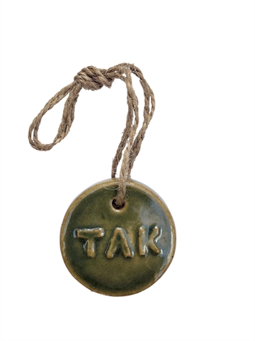 Badge i glaseret keramik - TAK - Ø4,5 cm