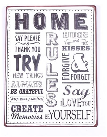 "Metalskilt "" Home Rules........"""