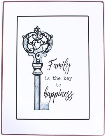 "Metalskilt "" Family is the key to happiness"""
