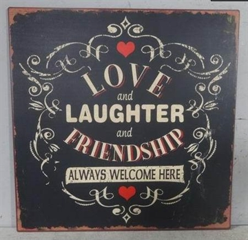 "Emaljeskilt - ""Love and Laughter........"""