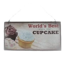 Træskilt - ''World's best Cupcake '